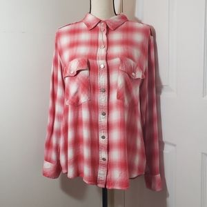 Sanctuary boyfriend pink and white plaid snap top